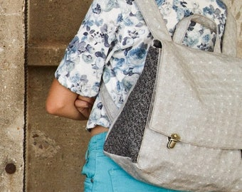 Grey Canvas Satchel Backpack, canvas backpack, canvas bag, grey bag, canvas diaper bag, women satchel backpack, gray backpack