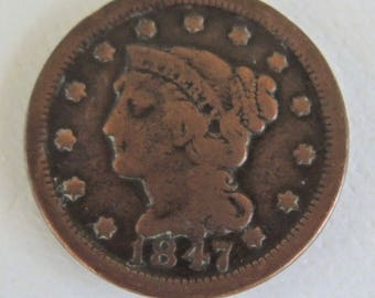 Vintage 1847 Large Braided Hair Penny - Copper Penny - Rare Coins - USA Coins