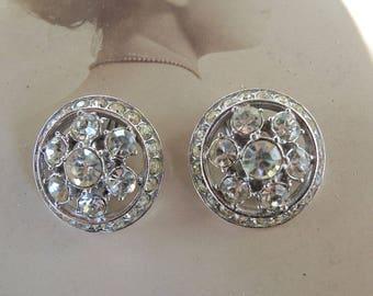 Vintage Rhinestone Clip Earrings, Mid Century Earrings, Dressy Earrings, Bridal Earrings, Wedding Earrings