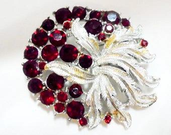 Elegant Red Rhinestone Textured Silver Tone Vintage Pin by Coro