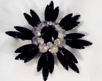 Vintage Black Rhinestone Marquise Starburst Pin by Judy Lee