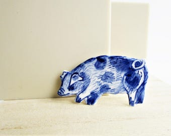 Pig Pin- Handpainted Delft Brooch
