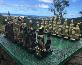 """Made 2 Order]> 7.5"""" King. EGYPTIAN Chess Set..""""Ebony & Gold look"""" FREE SHIPPING"""