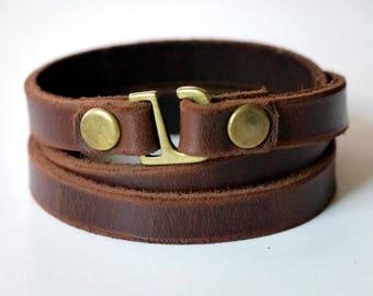 Leather Wrap Bracelet Wrap Bracelet Leather Cuff Bracelet Leather Bracelet in Brown Color Hook Clasp Brass Tone