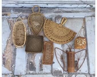 Vintage Wall Baskets - Wall Basket Set - Woven Flat Baskets - Boho Wall Baskets - Wicker Fans - Planters - Wicker Baskets - Wicker Planter