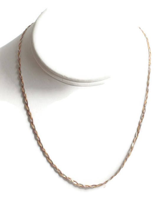 Italian Sterling Silver Tricolor Necklace Braided Choker Vintage