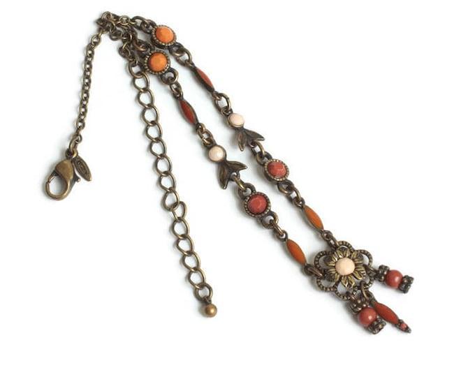 Avon Ankle Bracelet Flower Design Orange Beads Dark Gold Tone Metal