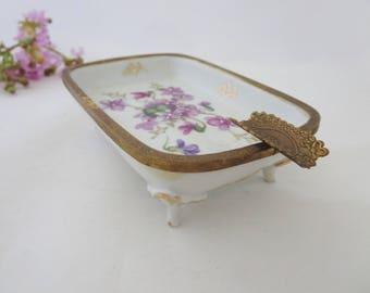 Vintage Ashtray - Porcelain China Footed Ashtray - Original Arnart Creations White Porcelain - Purple Violets Ashtray, Soap,Trinket Dish
