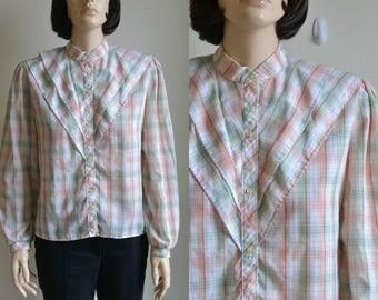70 Blouse Thin Shirt Pastel Plaid Layered Bib and Collar