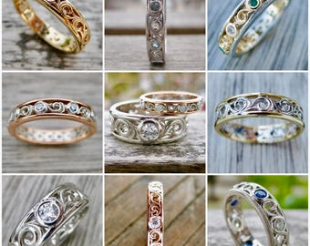 Order Your Custom Made Wedding or Anniversary Ring with Scroll Work and Gems Here - Deposit Only