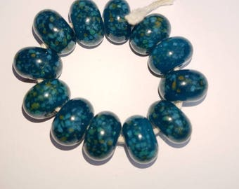 Blue green spotty dotty artisan Lampwork beads