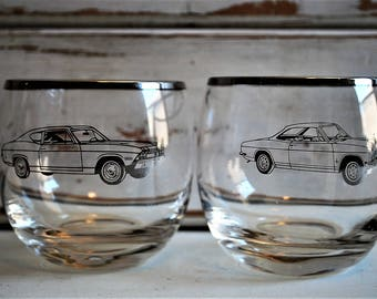 Musle Car Cocktail Glasses, Vintage Lowball Glasses, Musle Car Collectable, Man Cave Decor, Fathers Day Gift, Bar War Glasses, Set of Two