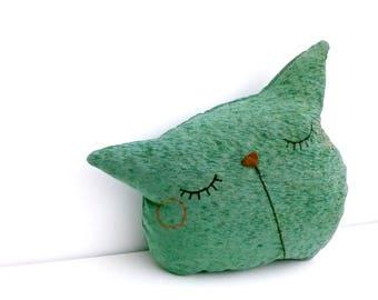 cat pillow, couch pillow, decorative pillows, pillow, home pillow, entryway pillow, animal pillow, nursery decor, cute pillow, green pillow