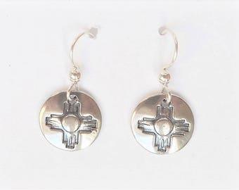 Sterling zia earrings, southwest jewelry, petroglyph accessory, New Mexico bling, tribal earrings