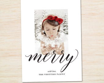 Printable Christmas Cards with Photo / Modern Holiday Card / Merry Christmas