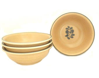Pfaltzgraff Folk Art Coupe Cereal Bowls, Set of 4; Vintage '80s Country Farmhouse Style Dinnerware