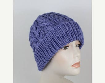 40% OFF SALE Instant Digital File PDF Download -Chunky Double Twist Cable beanie hat knitting pattern