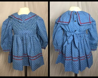 Blue and White Polka Dot Dress with Smocked Bodice and Sailor Collar - Size 18 Months