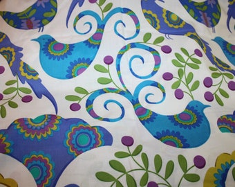 Pretty Bird  Pillow & Maxfield for Michael Miller Blue Purple Aqua