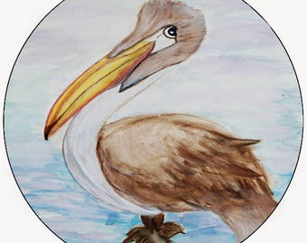 Brown pelican car coasters from my artwork