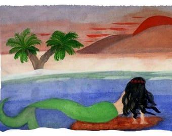 Mountain Sunset Mermaid Throw Blanket from my original art