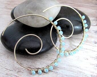 Large Spiral Earrings - Large Spiral Hoops - Womens Gold Hoop Earrings - Boho Gold Hoops - Spiral Gold Hoops - Spiral Earrings - Bohemian