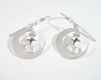 Sterling silver earrings with moon and stars
