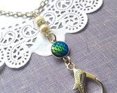 Mermaid scale lanyard, badge holder, lanyard chain, id card necklace, id card chain, name badge holder, work badge,
