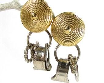 Vintage CHARM DANGLE EARRINGS Gold & Silver Tone Spoon Rings Rings Pierced
