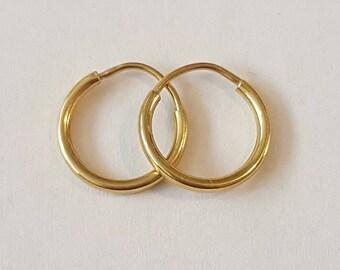 """Vintage 14k Yellow Gold 1/2"""" Hoop Earrings"""