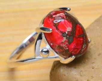 Sterling Silver and Red Copper Turquoise Cabochon Ring Size 7