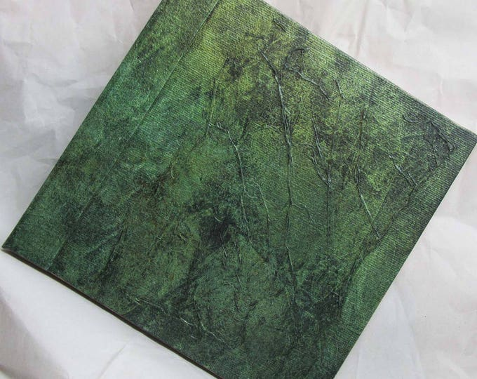 Handmade Refillable Journal Distressed Olive Green Texture 6x6 Original travellers notebook hardcover fauxdori
