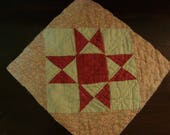 Antique Late 1800 Eight Point Star Quilt Piece ~ Lancaster County PA