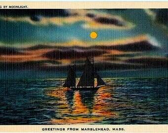 Vintage Massachusetts Postcard - Sailing by Moonlight, Marblehead (Unused)