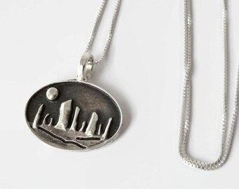 """Circle of Stones Necklace - Solid Sterling Silver - Richly oxidized - 3D - 18"""" sterling box chain - Stonehenge - Craigh na dun - Portal"""