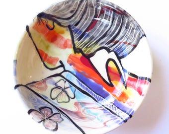 Geisha Flower kimono ceramic bowl