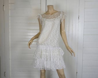 80s does 20s White Lace Dress- 1980s Prom / Formal / Short Wedding Dress- Drop Waist, Ruffles- Small- Punk, New Wave, Flapper Costume