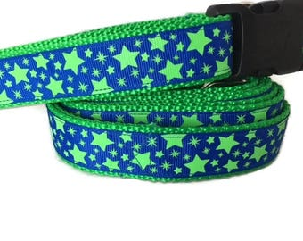 Dog Collar and Leash, Blue Green Stars, 1 inch wide, 6ft, adjustable, quick release, metal buckle, chain, martingale, hybrid, nylon