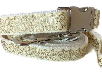 Wedding Dog Collar and 6ft Leash, 1 inch wide, adjustable, quick release, metal buckle, chain, martingale, hybrid, nylon
