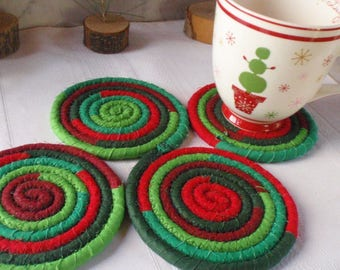 Red and Green Holiday Coasters - Coiled Fabric Coasters, Set of 4 for Kitchen, Entertaining, Hostess Gift - Handmade by Me