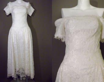 80s Lace Dress ~ Cream White Lace Gown ~ Off shoulder dress