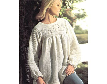 Tunic Top Knitting Pattern Pullover Smock Sweater Womens Jumper Instant Download PDF