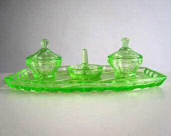 Art deco uranium glass dressing table set / Vintage green glass tray, trinket pots, ring holder c.1930s