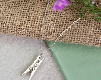 Sterling Silver Peg Clothespin Necklace UK Hallmarked