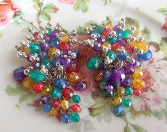 Vintage Large Rainbow colors Cascade Cluster Beaded Dangle Statement clip earrings
