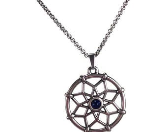 Dream catcher silver pendant necklace - lapis lazuli - stainless steel chain - Zamac pendant