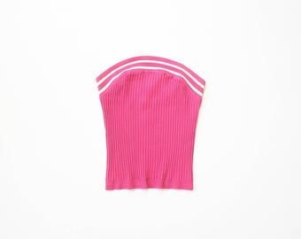90s Ribbed Tube Top 1990s Strapless Tank Cropped Midriff Belly Shirt Barbie Pink Y2K 00s Brittany Spears 2000s Stretch Knit Silk XS & Small