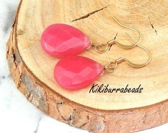 Quartz Earrings,Pink Quartz Earrings,Wire Wrapped,Gold Drop Earrings,Gemstone Jewelry,Pink Earrings