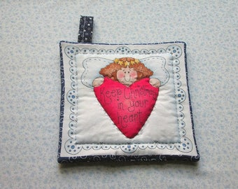 ANGEL keep christmas in your heart hand quilted insulated potholder hot pad with loop to hang