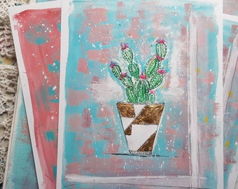 Abstract Succulents Print with gold leaf accents